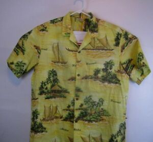 Royal-Creations-Mens-X-Large-Yellow-Hawaiian-Island-Boats-Aloha-Shirt