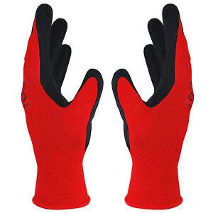 Arbeitshandschuhe-20-Paar-rot-schwarz-Montage-Schutzhandschuhe-Latex-Gr-7-11