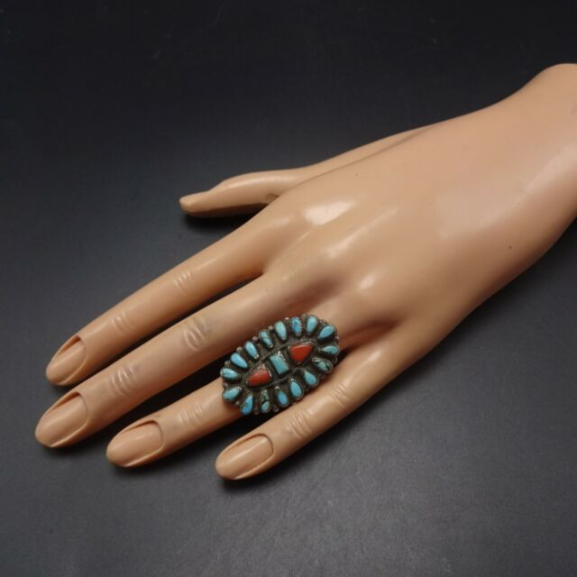 Vintage NAVAJO Sterling Silver TURQUOISE and CORAL Cluster ...