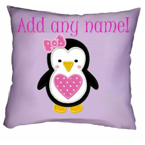 Personalised Embroidered Cute Penguin Girly Cushion - Add name, change colours!