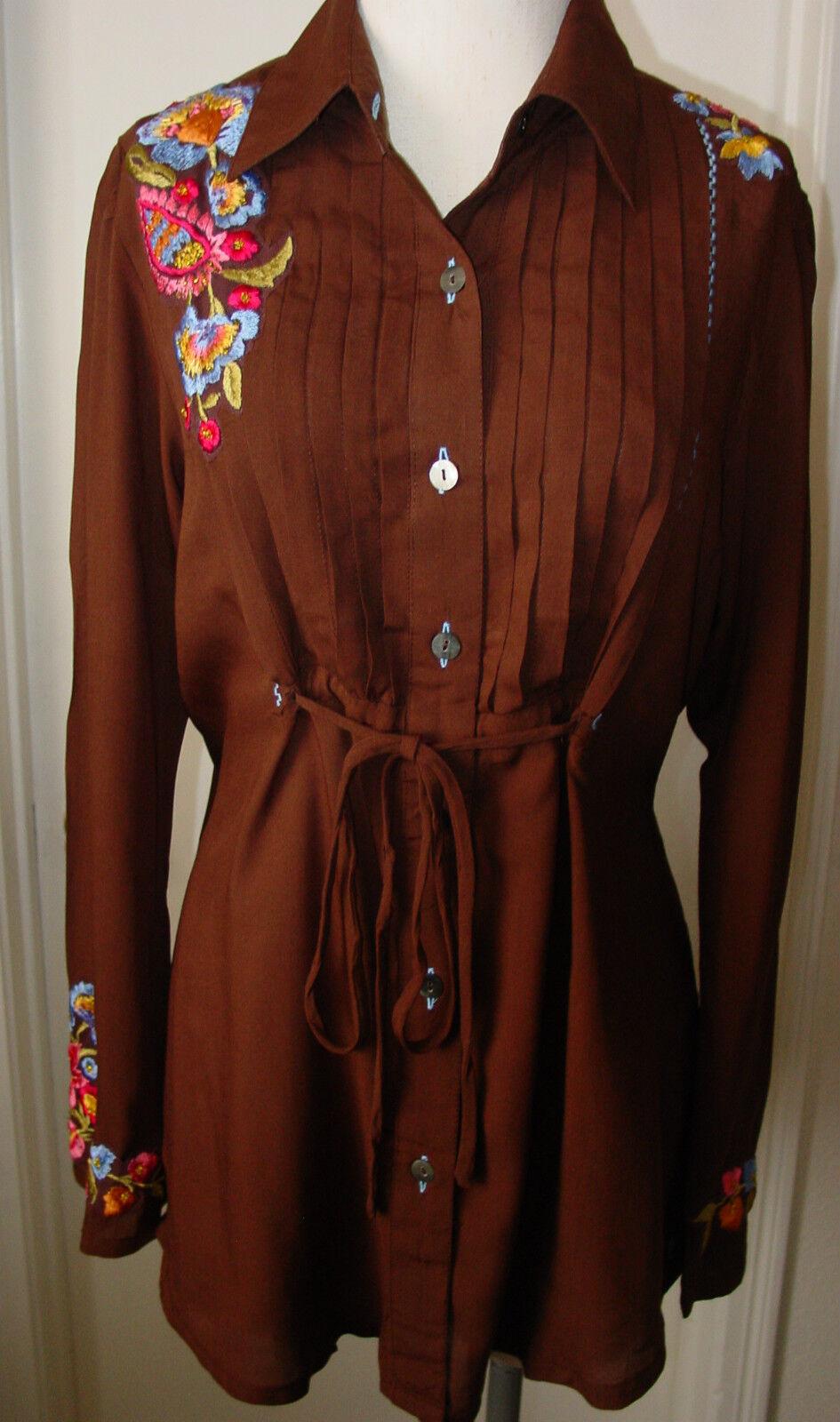 Woherren Blouse Tunic Top Krista Lee Florence braun Embroidery Buttons Tie Waist