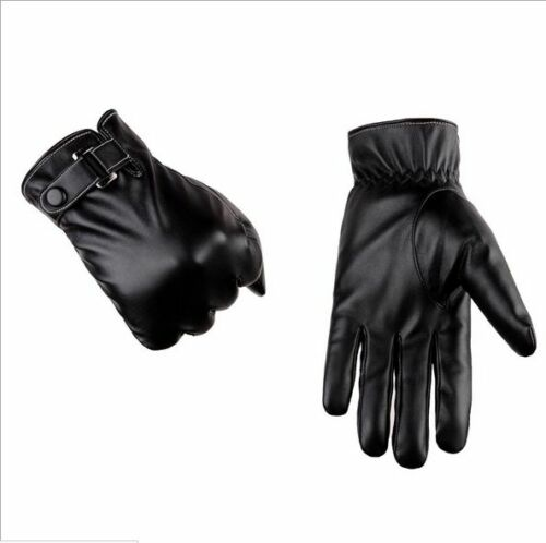 Men/'s Genuine Lambskin Leather Button Wrist Winter Warm Fleece Lining Gloves