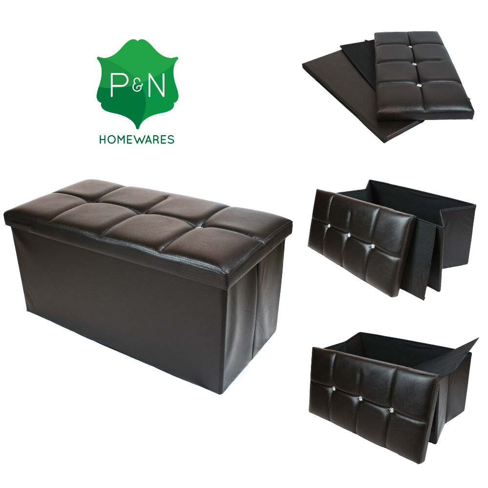 large brown leather diamante ottoman box storage pouffe foot stool toy storage ebay. Black Bedroom Furniture Sets. Home Design Ideas