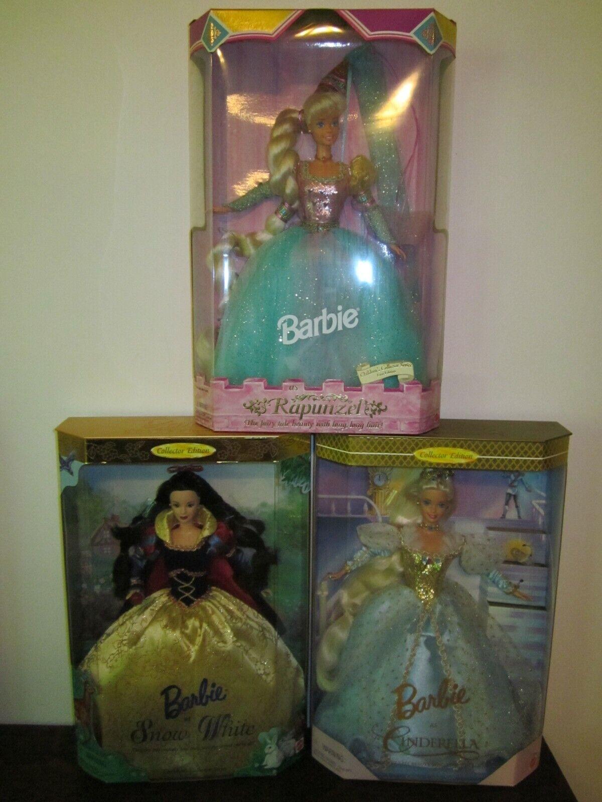 Barbie Lote De 3 Niños Serie Rapunzel blancoanieves'94'98 y'96 de Cenicienta