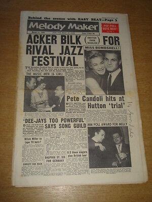 Getrouw Melody Maker 1961 March 11 Acker Bilk Betty Hutton George Melly Elvis Presley + Tekorten