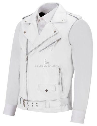 Men/'s Brando Waistcoat Biker Motorcycle Style White Real Lambskin Vest 1025