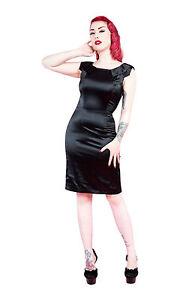 Ladies-40-039-s-50-039-s-Vintage-Style-Black-Satin-Pencil-Collar-Detail-Dress-New-8-18