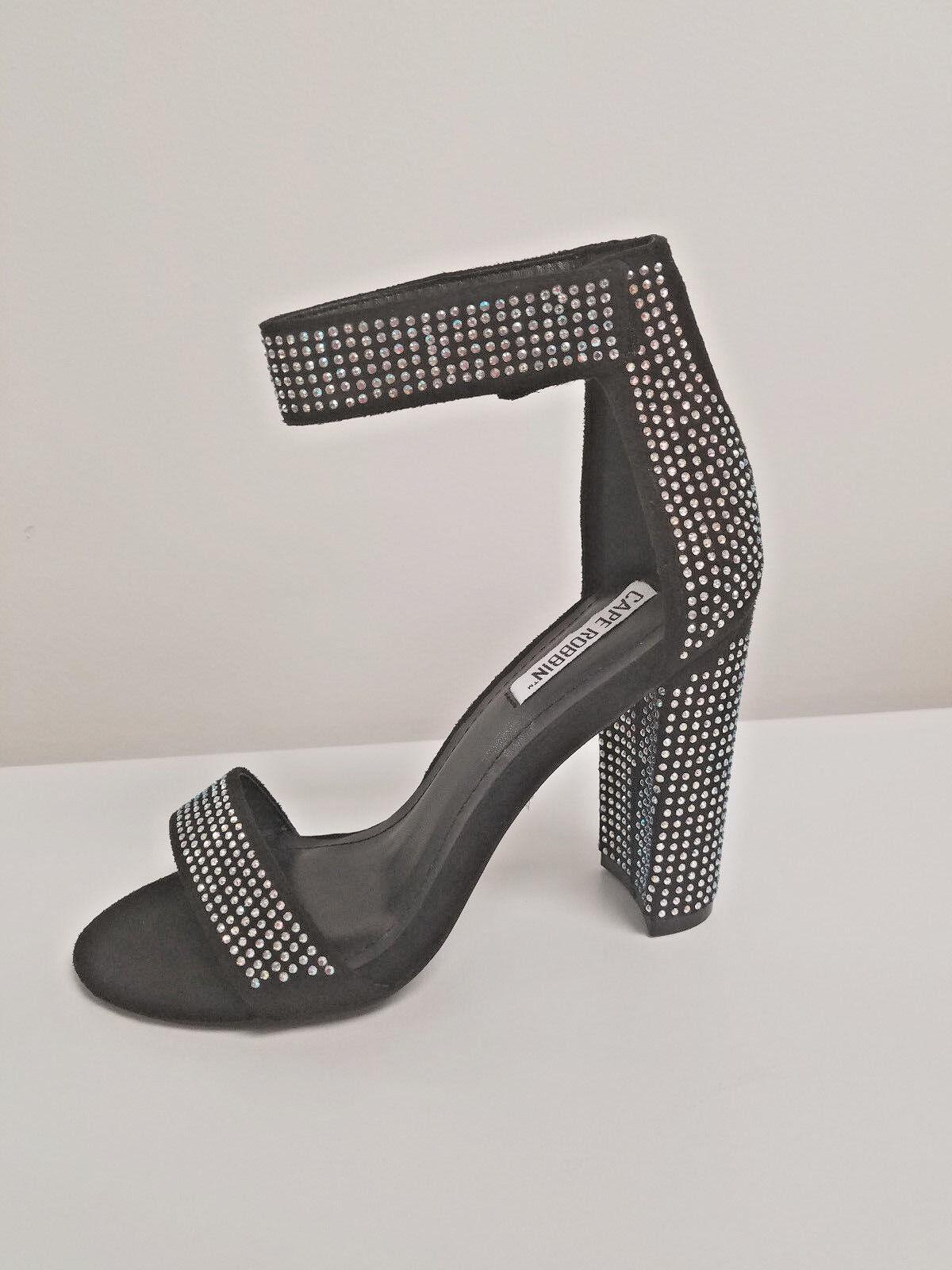 Black Rhinestone Embellished Chunky Heels