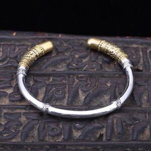 Solid-925-Sterling-Silver-Mens-Heavy-Tibetan-Scripture-Open-Bangle-Cuff-Bracelet