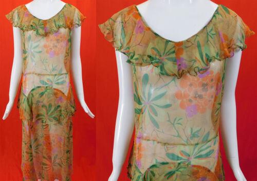 Vintage 30s Yellow Silk Chiffon Plumeria Flower Pr