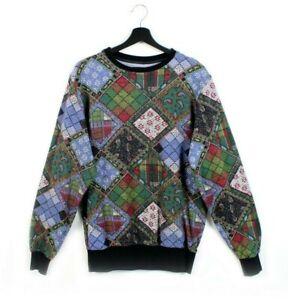90s 2000s NON SENSE vintage sweatshirt pullover crewneck pattern Made in Italy S