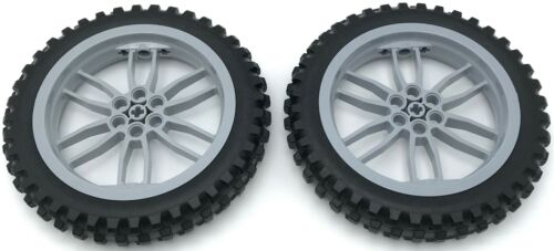 Lego New 2 Light Bluish Gray Wheels 75 mm D x 17 mm Motorcycle Black Tires