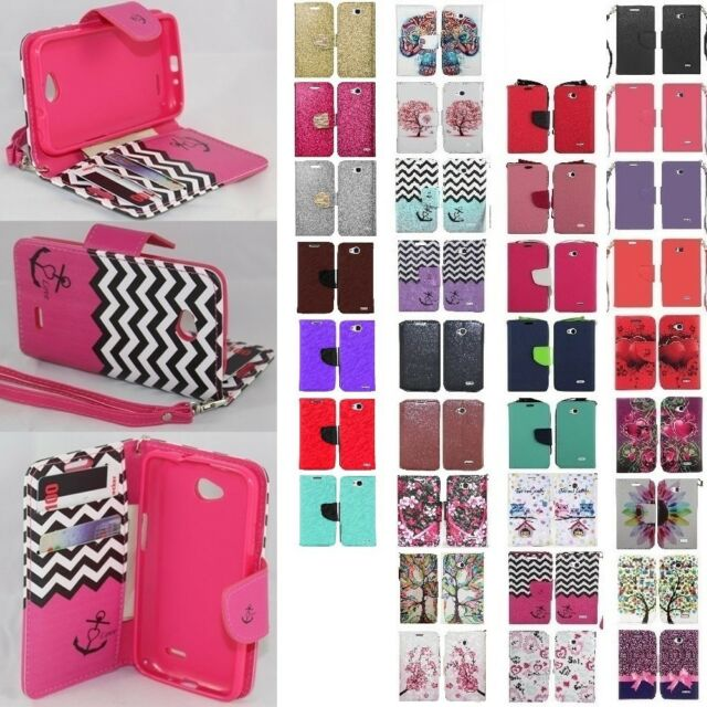 For LG Optimus L70 Cell Phone Case Hybrid PU Leather Wallet Pouch Flip Cover