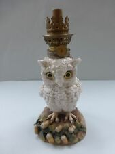 19THC CONTINENTAL PORCELAINE  VICTORIAN OIL LAMP OF AN OWL C.1870