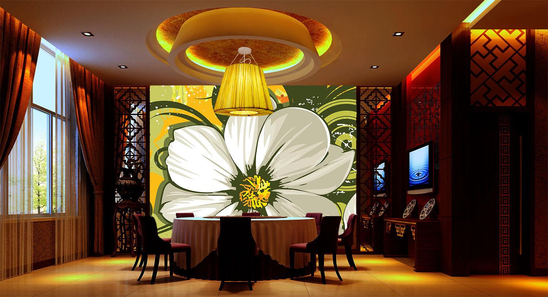 3D Green Flowers 2 Wallpaper Mural Paper Wall Print Wallpaper Murals UK Lemon