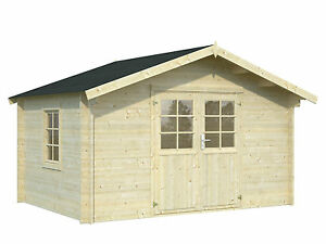 34 mm gartenhaus 4x3 m ger tehaus blockhaus holzhaus holz schuppen aktionspreis ebay. Black Bedroom Furniture Sets. Home Design Ideas