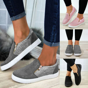 Womens-Fashion-Zipper-Loafers-Pumps-Casual-Slip-On-Flat-Trainers-Sneakers-Shoes