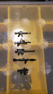LEGO guns machine guns /& bazooka 5pcs aftermarket fit LEGO Minifigures