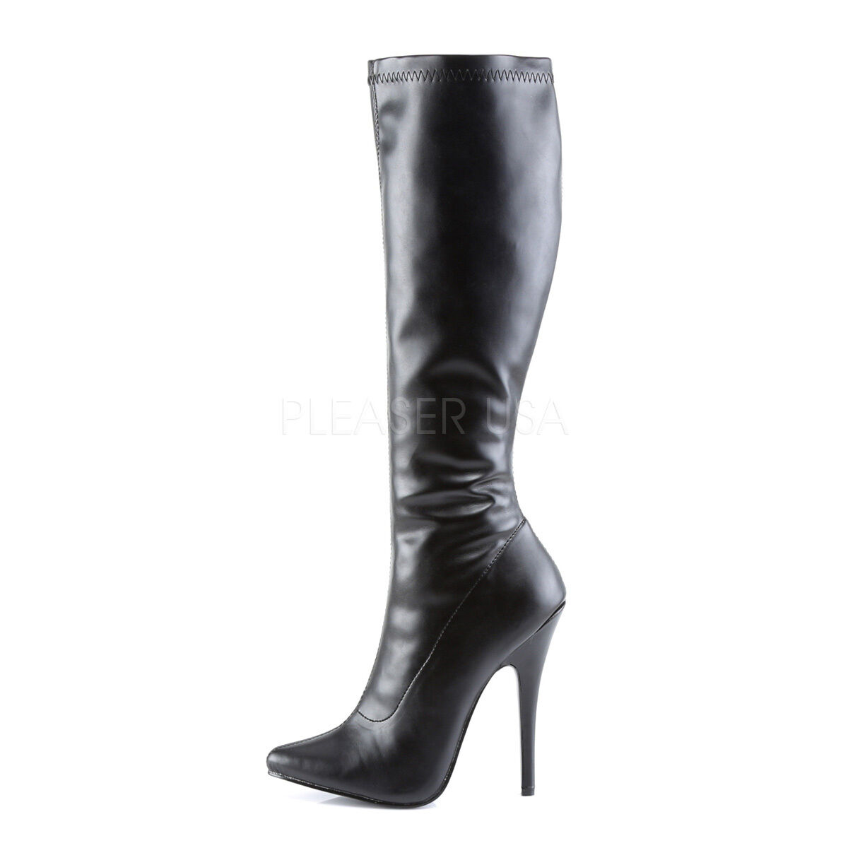 Pleaser Devious domina - 2000 Noir Stretch Aiguille Talon Aiguille Stretch Genou-Bottes hautes f85581
