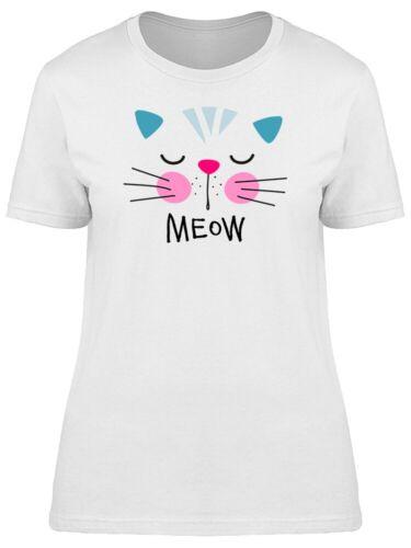 Cat Design Meow Word Sleepy Face Tee Women/'s Image by Shutterstock