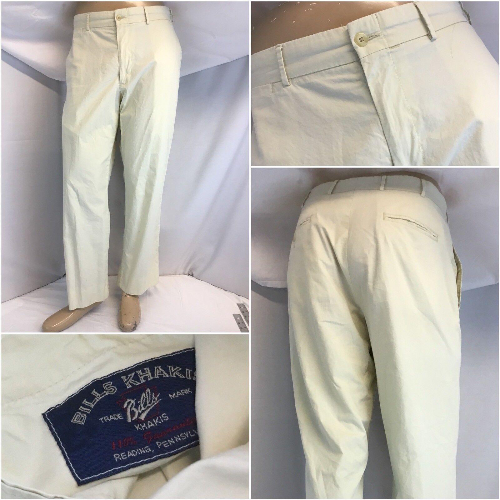 Bill's Khakis Pants 33x29 Beige 100% Cotton Flat Front M2 EUC YGI F8-574