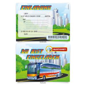 Geburtstagskarten-8-Stueck-034-Busfahrt-034-zum-Einladen-Einladungskarten-Karten