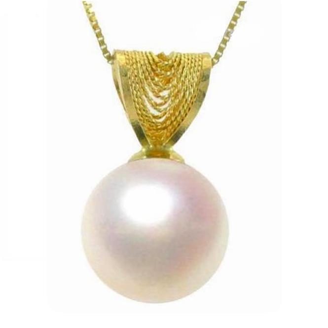 9-9.5mm AAA Grade White Pearl Filigree Pendant in 14K Yellow gold