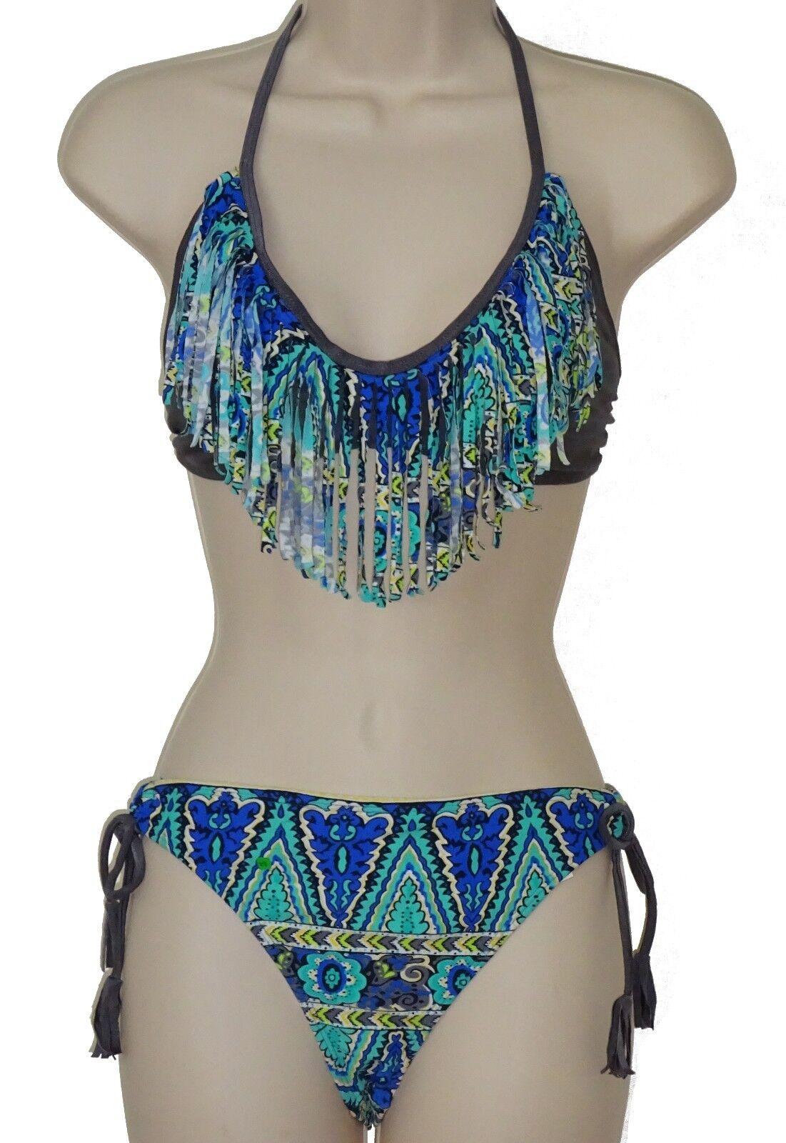 NWT Raisins Swimsuit Bikini 2pc set L Macrame Bra Tie Side Sweet Pea Pant