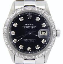 Rolex Datejust Mens Stainless Steel Watch Black Diamond w/ President Style Band