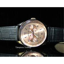 Invicta Vintage Copper Dial Quartz Swiss Master Black Leather Strap Men's Watch