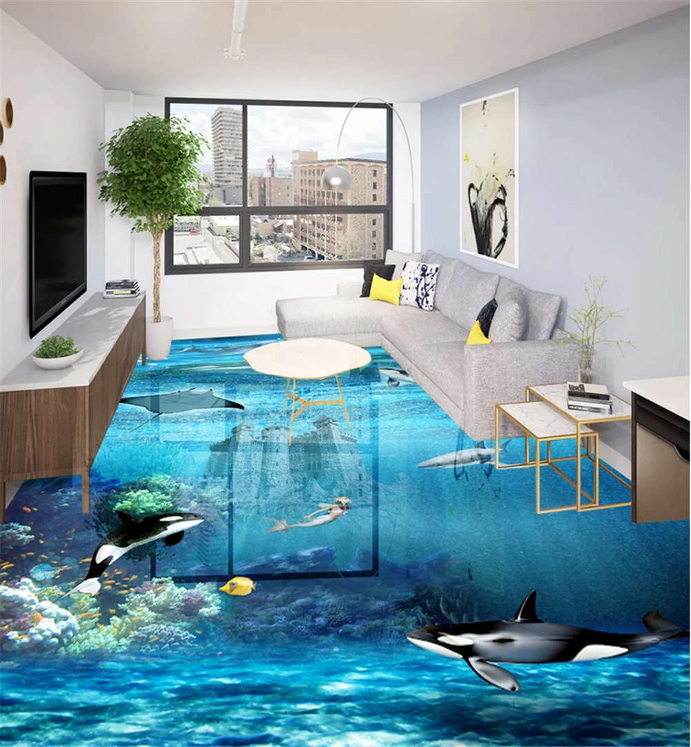 Blau Serious Lake 3D Floor Mural Photo Flooring Wallpaper Home Print Decoration