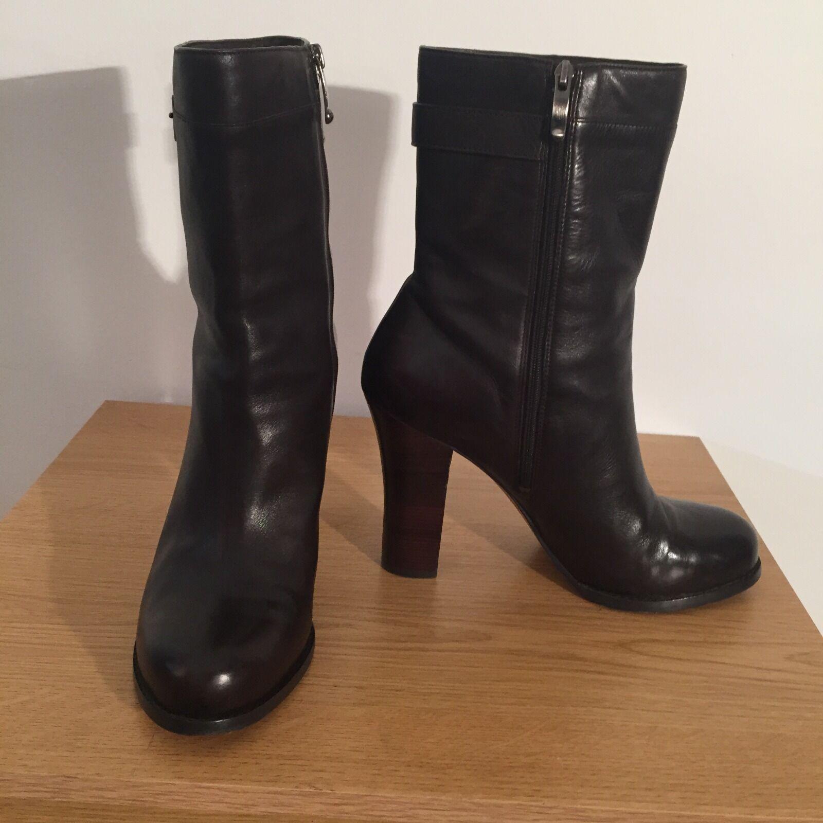 VIA SPIGA dark Braun Leder high heel ankle boots w zip UK 7 / Eur 40 VGC