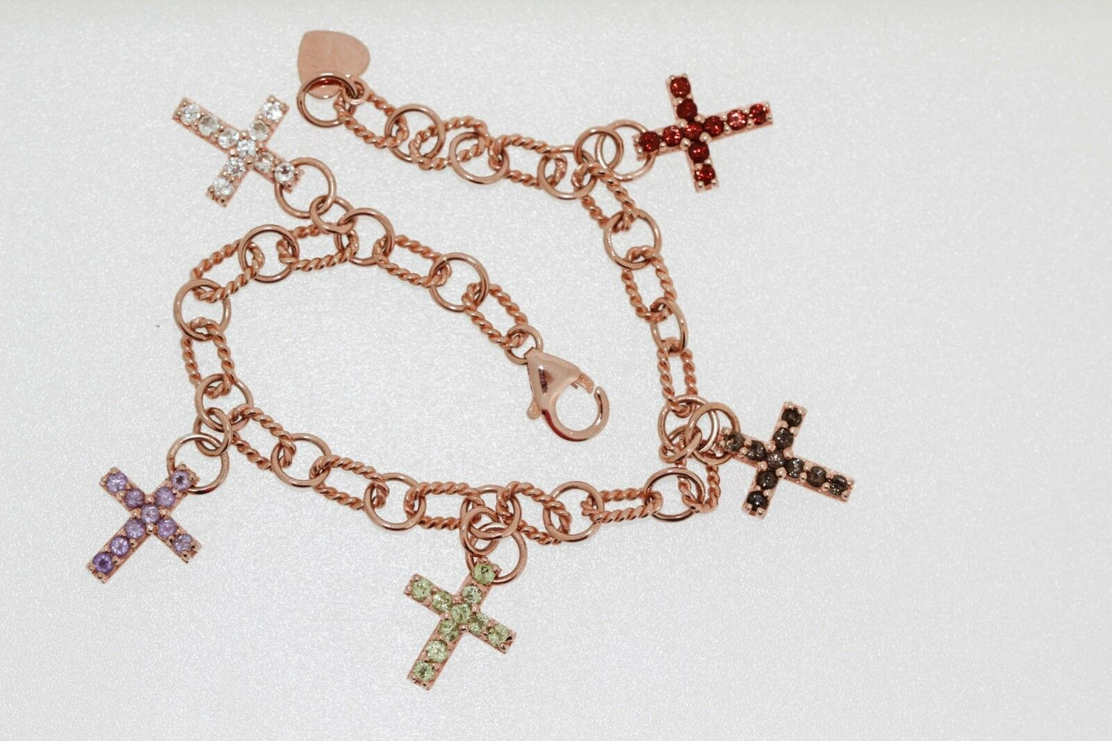 925 pink Vermeil Gemstone Cross Bracelet ( 1.50 cts)