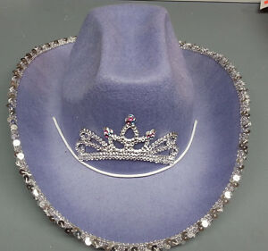 GIRLS PURPLE COWBOY COWGIRL HAT WITH DRAW STRING