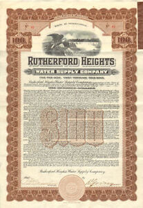 Rutherford-Heights-Pennsylvania-water-bond-certificate