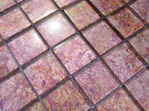 Glasmosaik Effekt Mosaik Fliesen Klarglas Metall Fx19 Klarglas Rosa