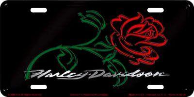 Harley Davidson Rose Embossed Metal Car License Plate Auto Tag