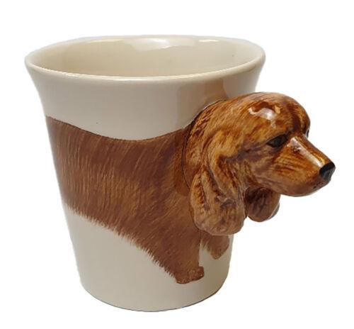 Handpainted Ceramic Cup WINDHORSE Cocker Spaniel Dog Mug 3D head handle
