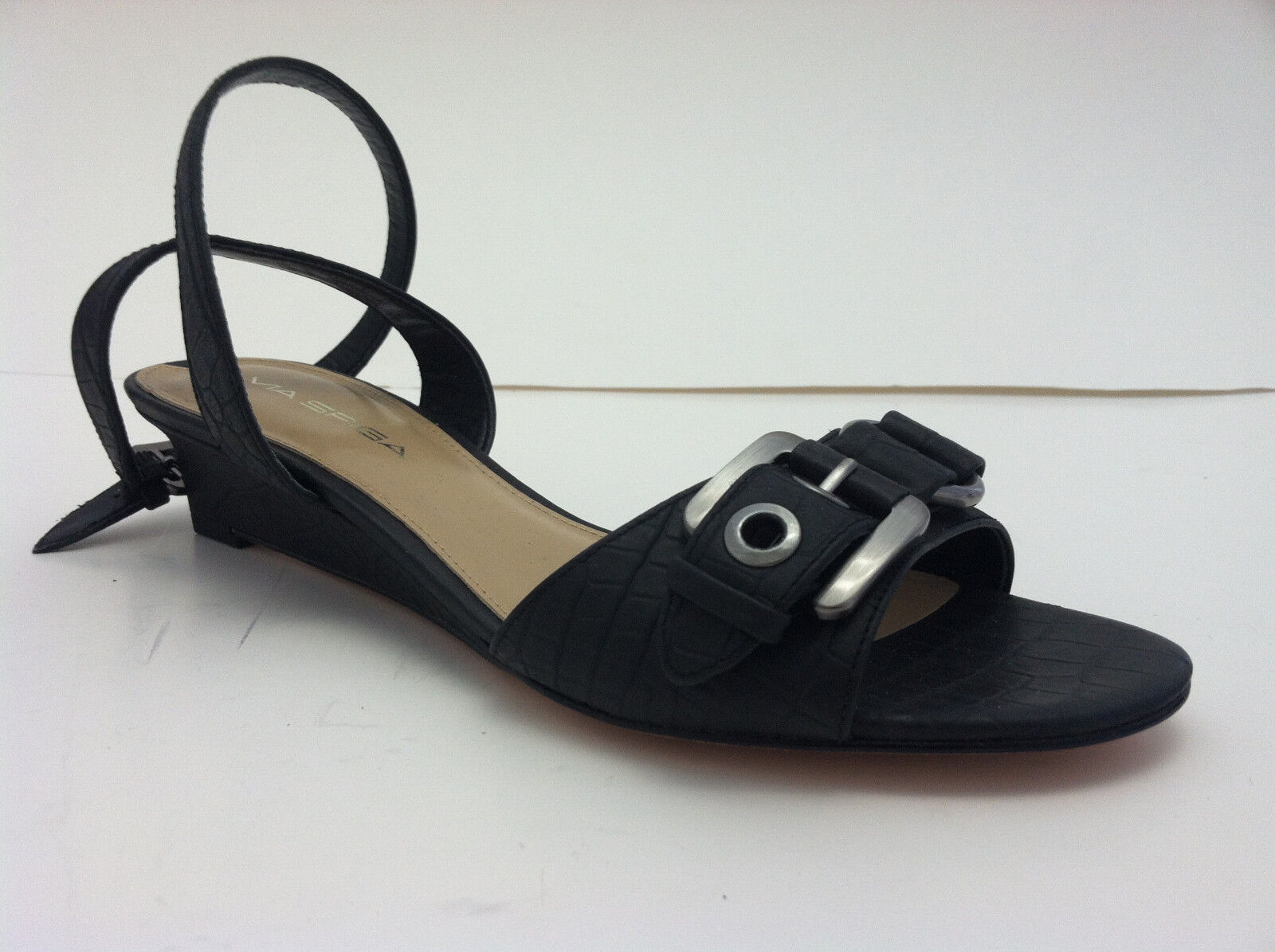 New Via Spiga womens black leather shoe sandal open toe buckle ankle strap sz 6M