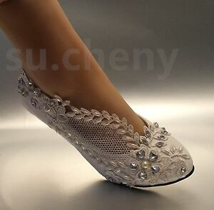 2 Low Heel Lace White Light Ivory Crystal Wedding Shoes Bridal Pump Size 5 12