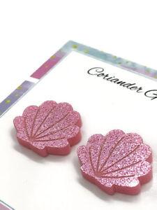 Mermaid-Seashell-Acrylic-Stud-Earrings-Pink-Glitter-Christmas-Stocking-Stuffer