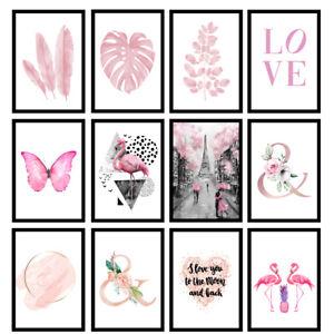 Pink Girls Bedroom Framed Prints Floral Pink Blushed Wall Artwork Fashion Poster