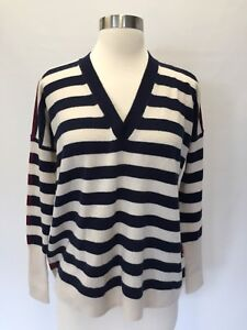 8168d3ff5311 JCrew V-neck boyfriend striped sweater everyday cashmere Navy ...