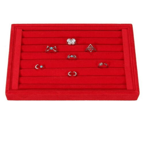 Suede Earring Ring Display Women Shop Jewelry Plate Storage Box Tray Holder Case