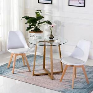 Details About Gl Round Dining Table And 2 Retro Chairs Solid Wood For Small Kitchen