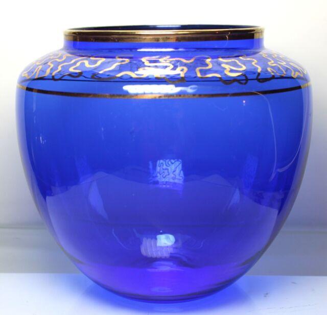 Vintage Cobalt Blue Glass Vase With Gold Trim Tall 6 14 Inch Ebay