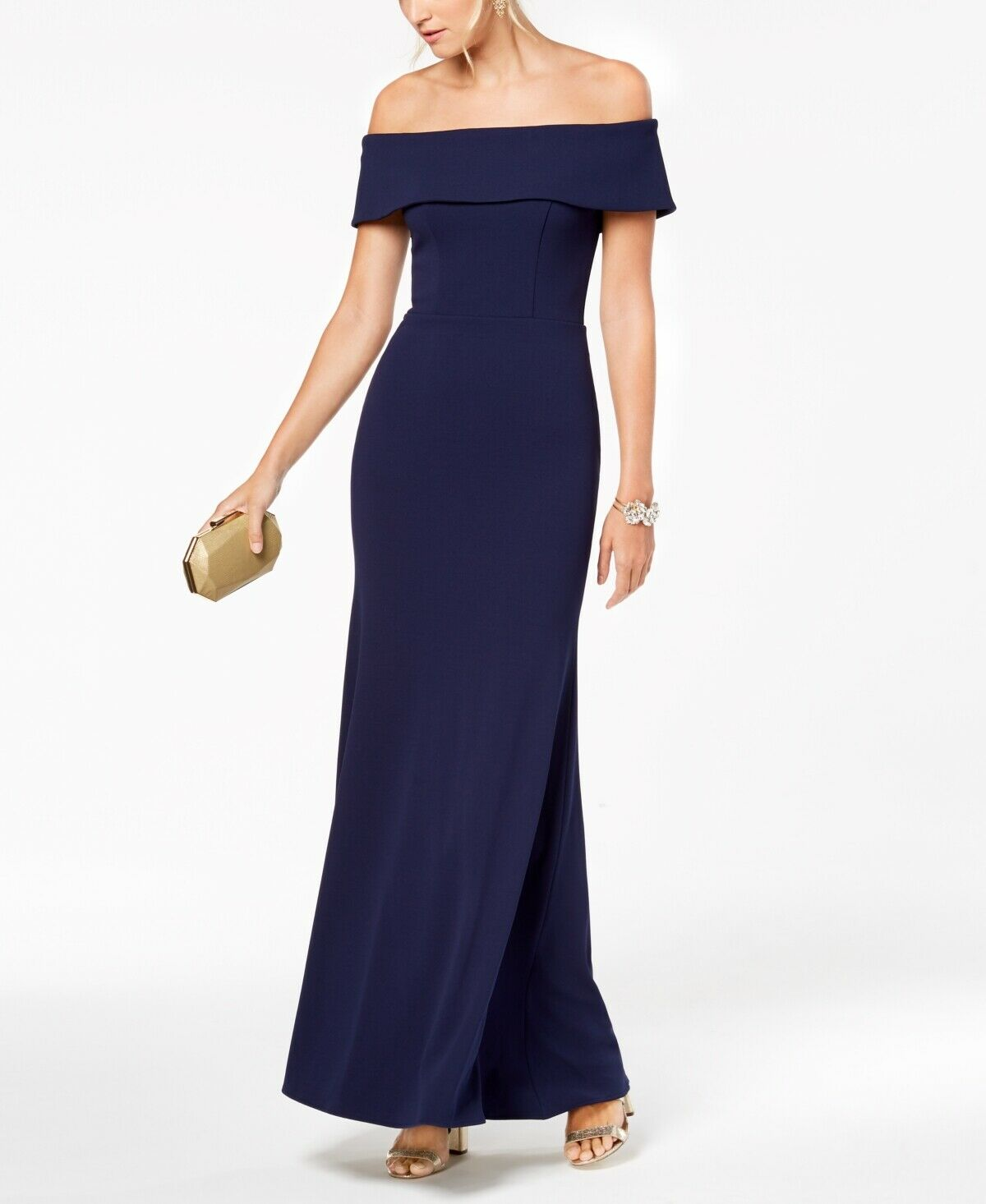 NEW  BETSY & ADAM damen Blau RUFFLED OFF SHOULDER FORMAL GOWN DRESS Größe 2