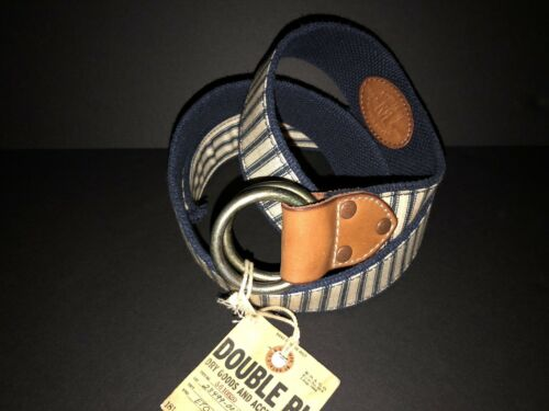 RRL Ralph Lauren Double RL Vintage Nautical Double O Ring Buckle Leather Belt 34