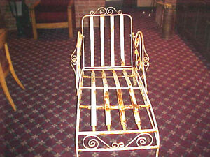 """1920'S CHAISE WROUGHT IRON LOUNGE OUTDOORS 60"""" LONG 30 ..."""