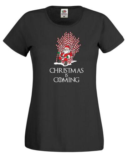 Santa canne trône T Shirt Game of Thrones GoT Jon Snow Drôle Cadeau de Noël Femmes Top
